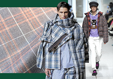 Retro Check -- 18/19 A/W Fabric for Men's Padded Coat