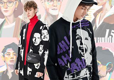 Portrait Art -- Pre-Fall 2020 Pattern Trend for Men's Knitwear