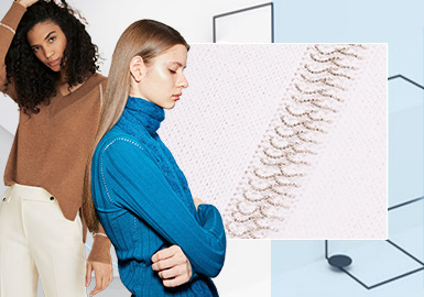 Decorative Minimalist Lines -- The Craft Detail Trend for Women's Knitwear