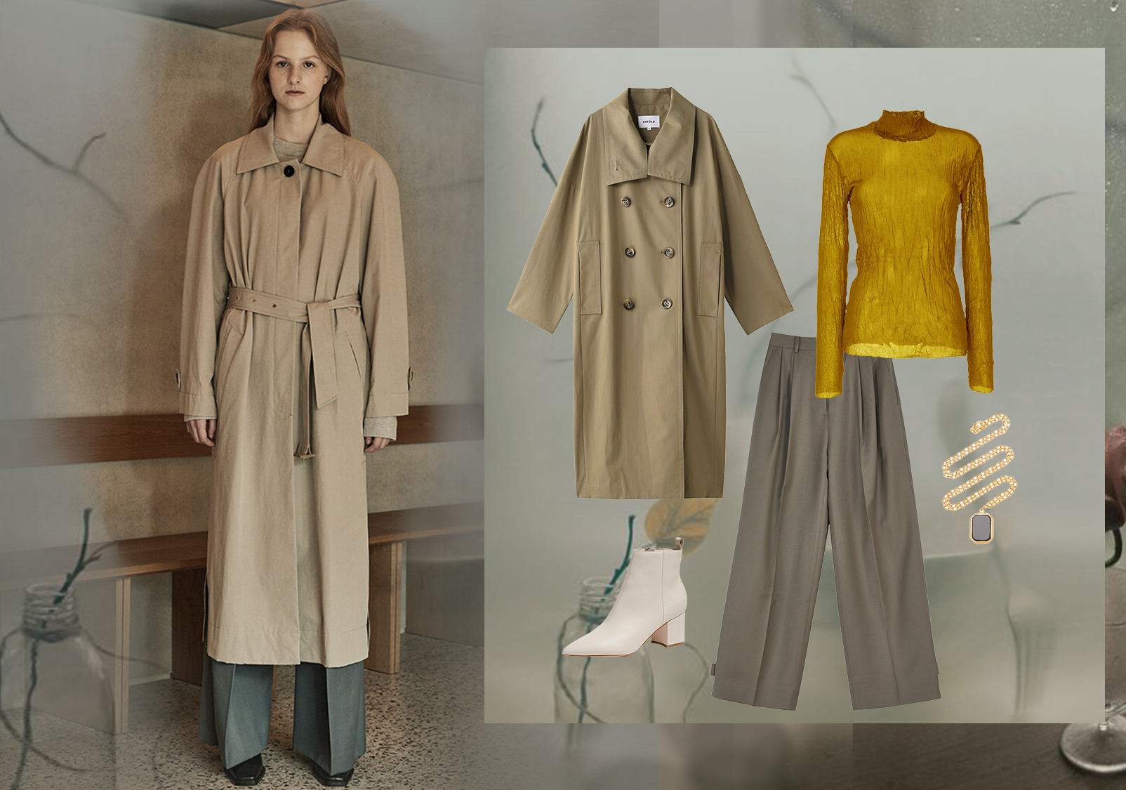 Lemaire Styling -- Clothing Collocation for Women's Trench Coats